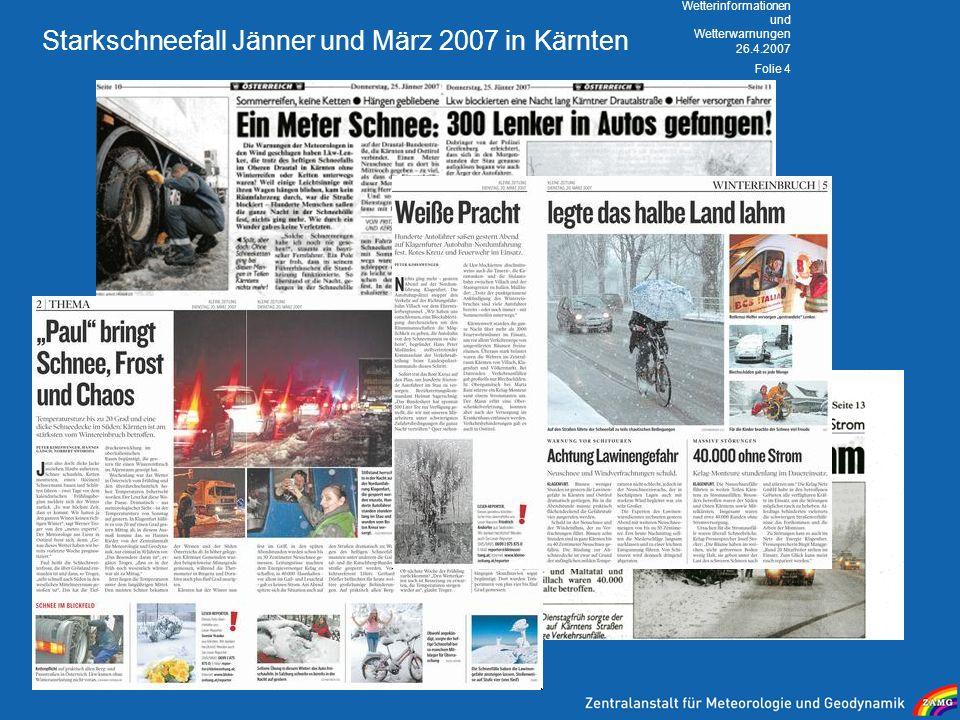 Starkschneefall Jänner und März 2007 in Kärnten