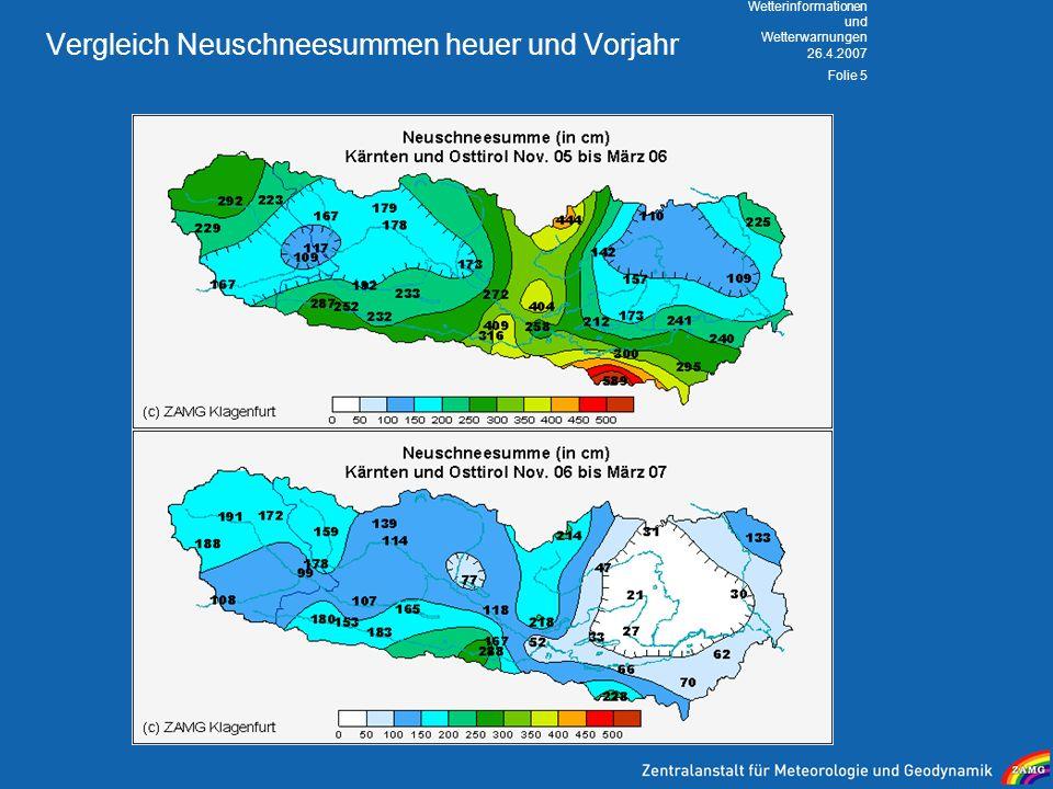 Vergleich Neuschneesummen heuer und Vorjahr