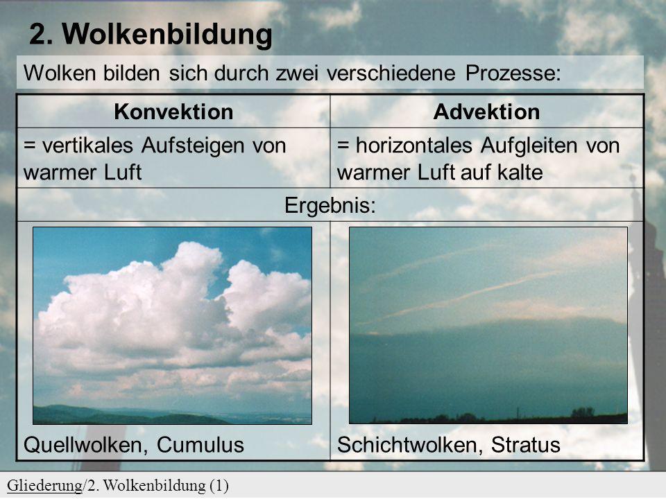 2. Wolkenbildung Wolken bilden sich durch zwei verschiedene Prozesse: