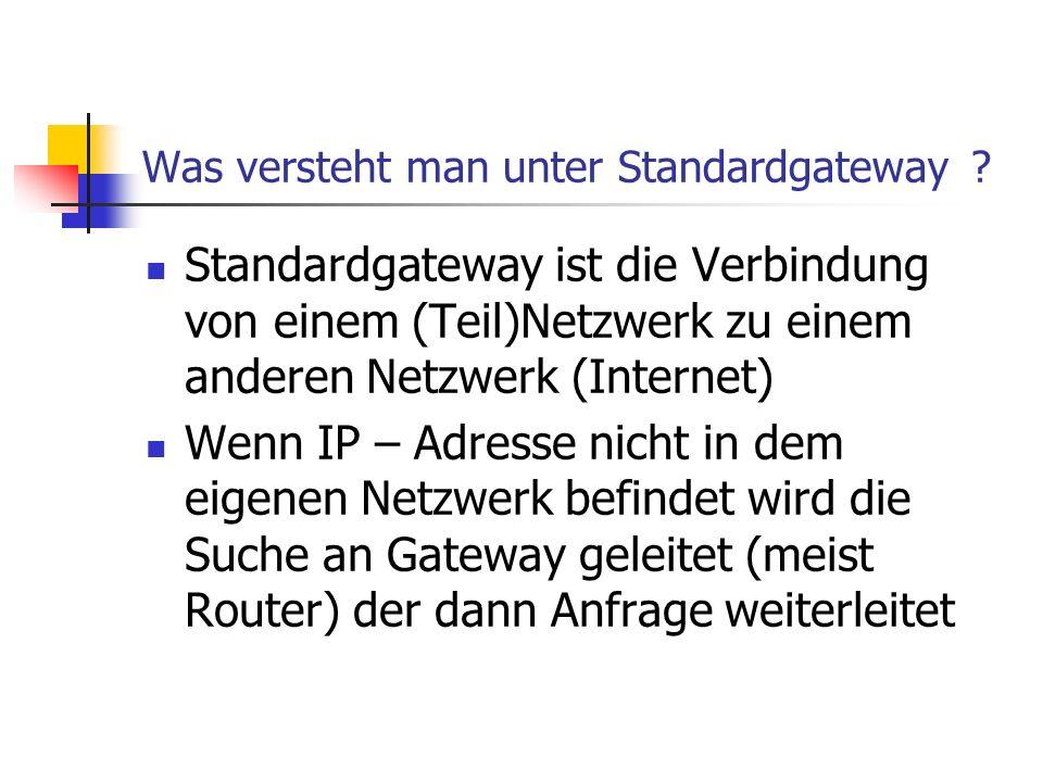 Was versteht man unter Standardgateway