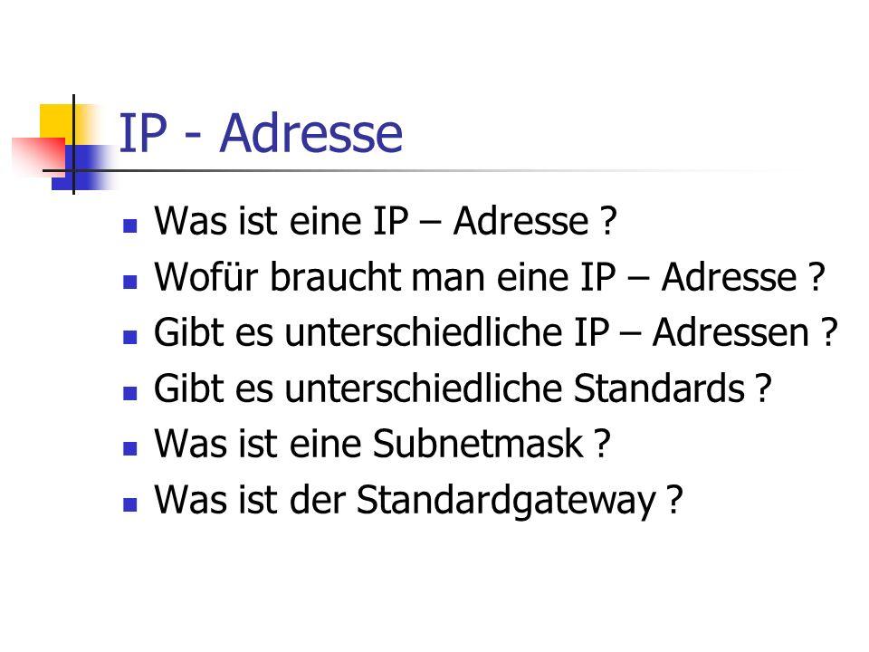 IP - Adresse Was ist eine IP – Adresse