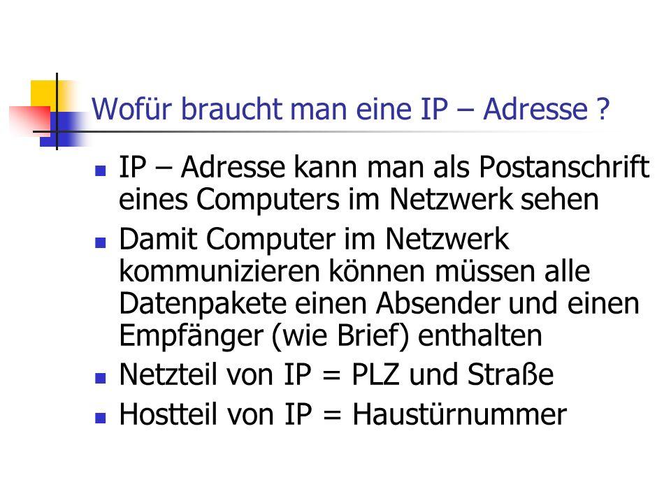 Wofür braucht man eine IP – Adresse