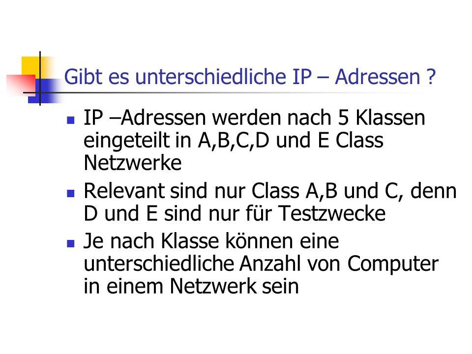 Gibt es unterschiedliche IP – Adressen