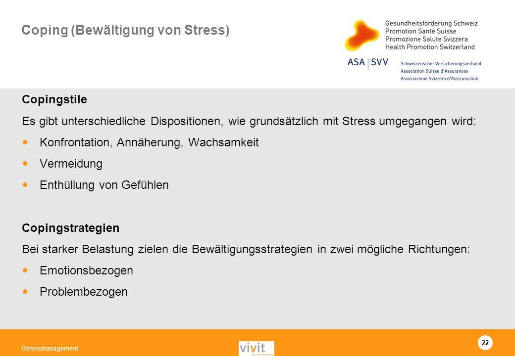 Coping (Bewältigung von Stress)