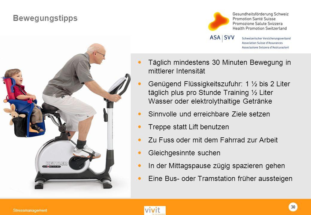 Bewegungstipps Täglich mindestens 30 Minuten Bewegung in mittlerer Intensität.