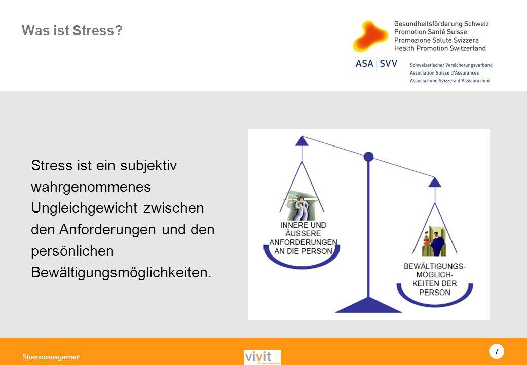 Was ist Stress Stress ist ein subjektiv wahrgenommenes Ungleichgewicht zwischen den Anforderungen und den persönlichen Bewältigungsmöglichkeiten.