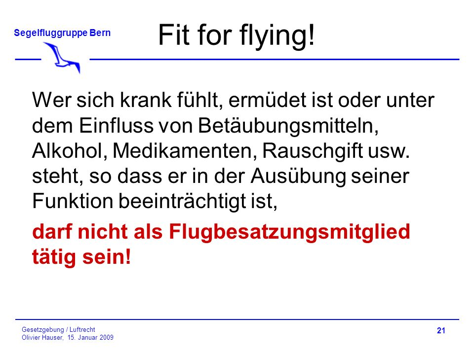 Fit for flying!