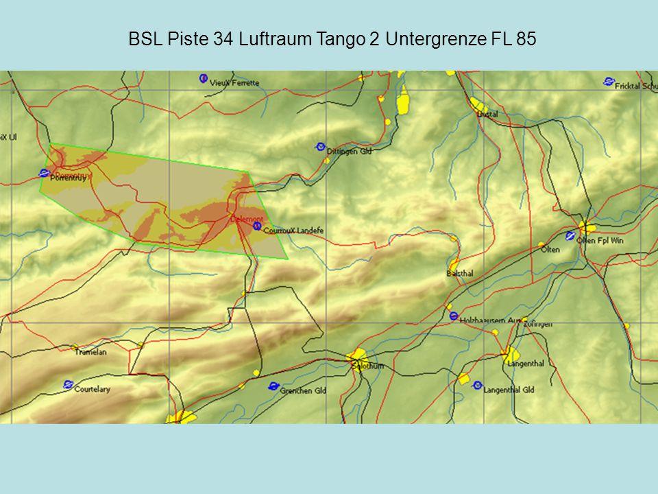 BSL Piste 34 Luftraum Tango 2 Untergrenze FL 85