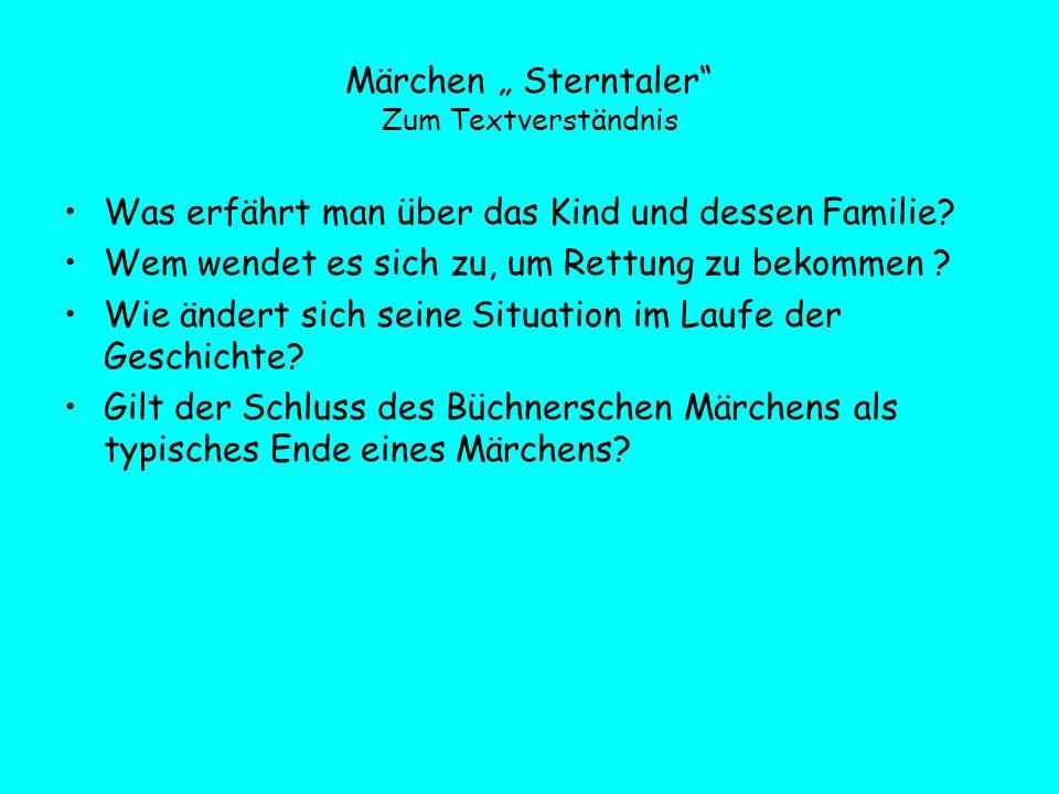 """Märchen """" Sterntaler Zum Textverständnis"""