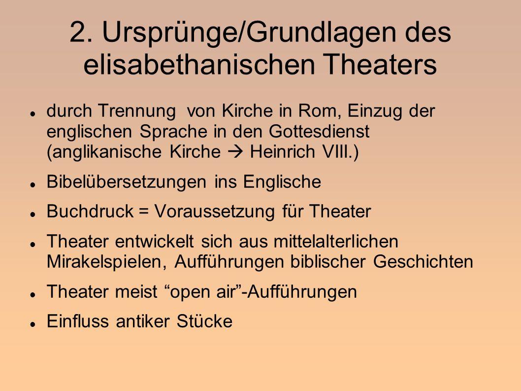 2. Ursprünge/Grundlagen des elisabethanischen Theaters