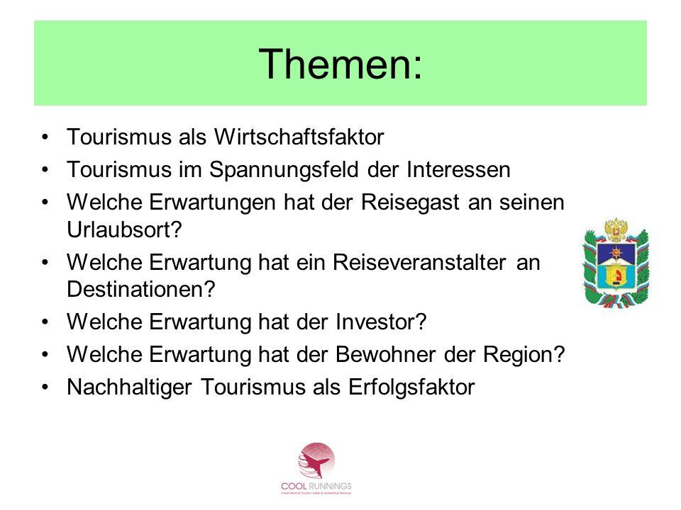 Themen: Tourismus als Wirtschaftsfaktor