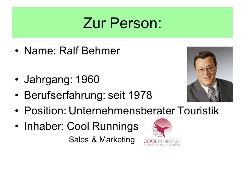Zur Person: Name: Ralf Behmer Jahrgang: 1960