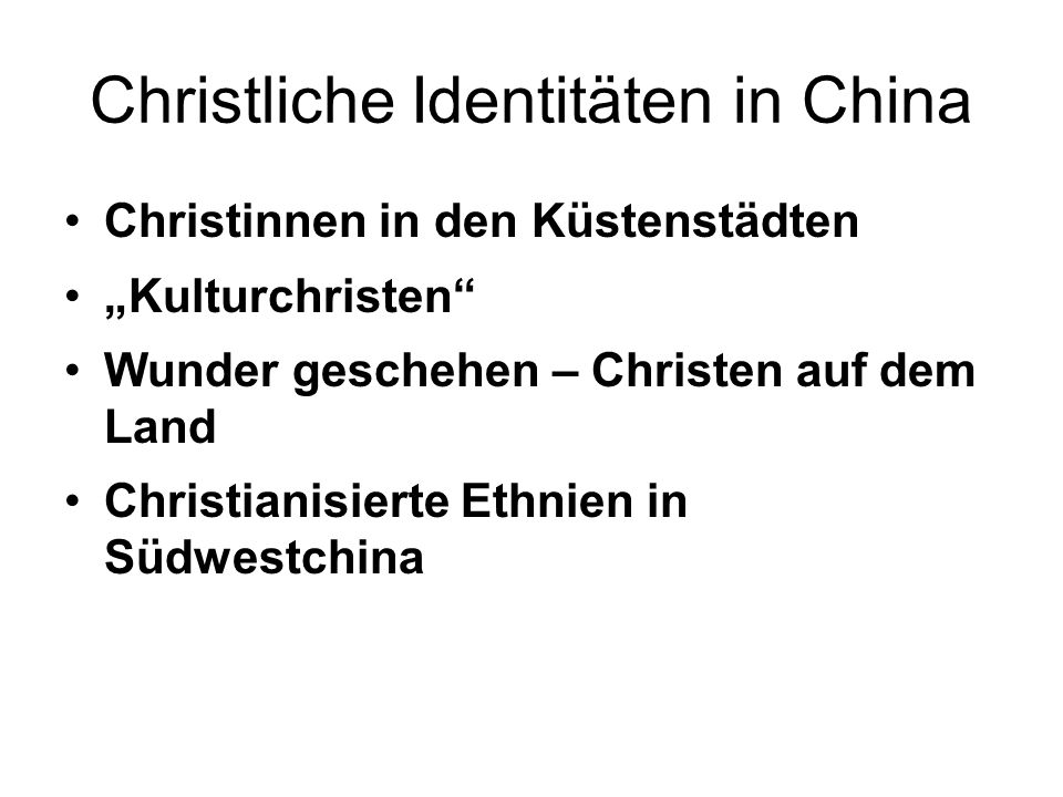 Christliche Identitäten in China
