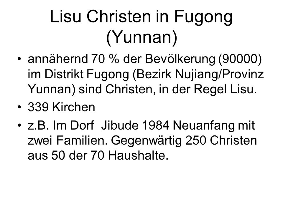 Lisu Christen in Fugong (Yunnan)