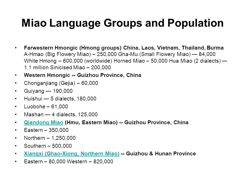 Miao Language Groups and Population