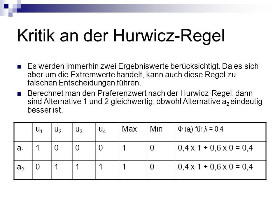 Kritik an der Hurwicz-Regel