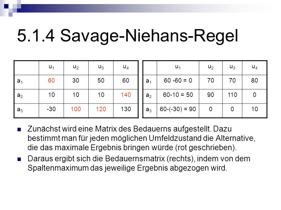 5.1.4 Savage-Niehans-Regel