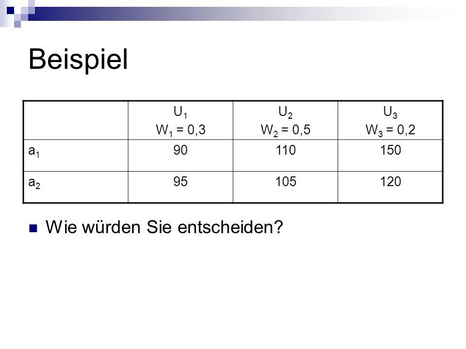 Beispiel Wie würden Sie entscheiden U1 W1 = 0,3 U2 W2 = 0,5 U3