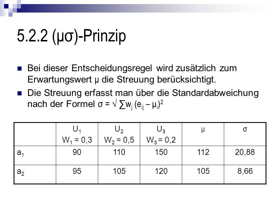5.2.2 (μσ)-Prinzip Bei dieser Entscheidungsregel wird zusätzlich zum Erwartungswert μ die Streuung berücksichtigt.