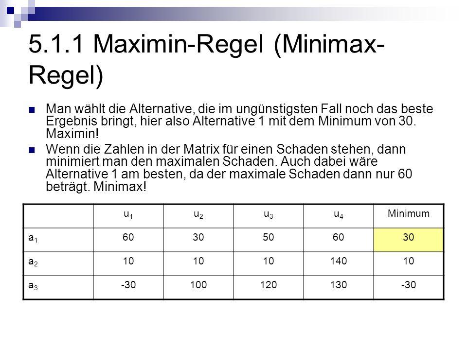 5.1.1 Maximin-Regel (Minimax-Regel)