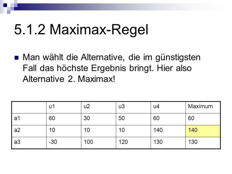 5.1.2 Maximax-Regel Man wählt die Alternative, die im günstigsten Fall das höchste Ergebnis bringt. Hier also Alternative 2. Maximax!
