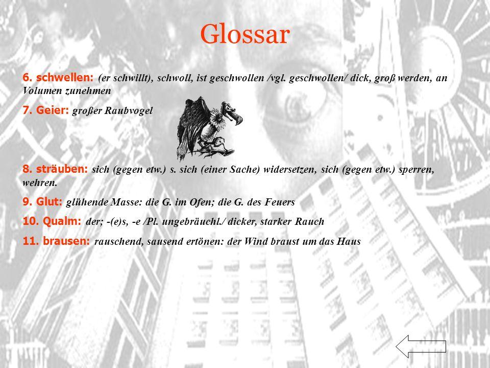 Glossar 6. schwellen: (er schwillt), schwoll, ist geschwollen /vgl. geschwollen/ dick, groß werden, an Volumen zunehmen.