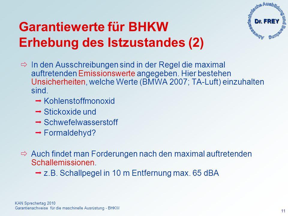 Garantiewerte für BHKW Erhebung des Istzustandes (2)