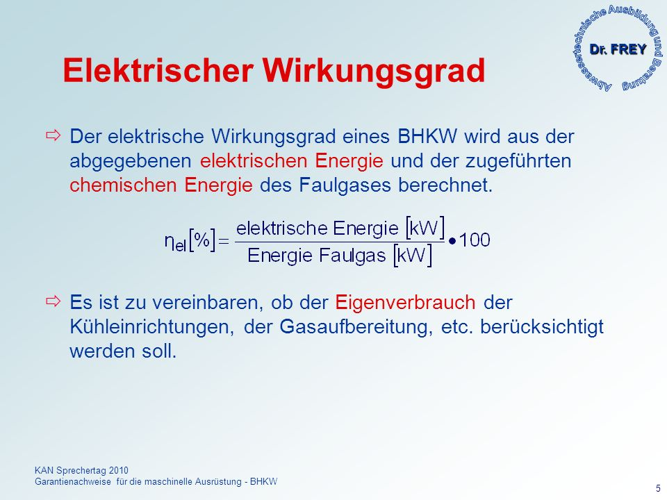 Elektrischer Wirkungsgrad