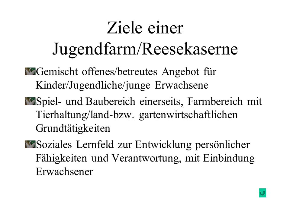 Ziele einer Jugendfarm/Reesekaserne