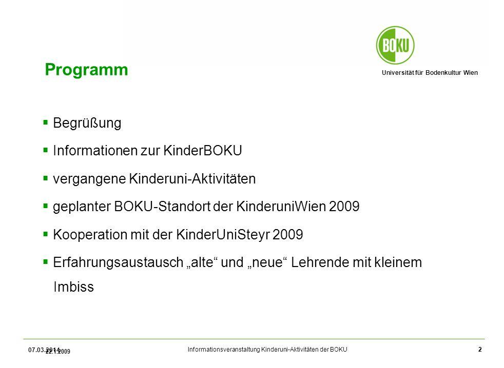 Programm Begrüßung Informationen zur KinderBOKU