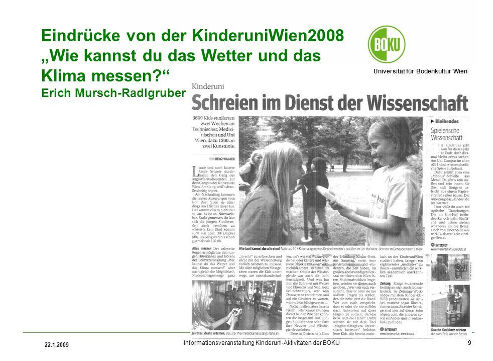 """Eindrücke von der KinderuniWien2008 """"Wie kannst du das Wetter und das Klima messen Erich Mursch-Radlgruber"""