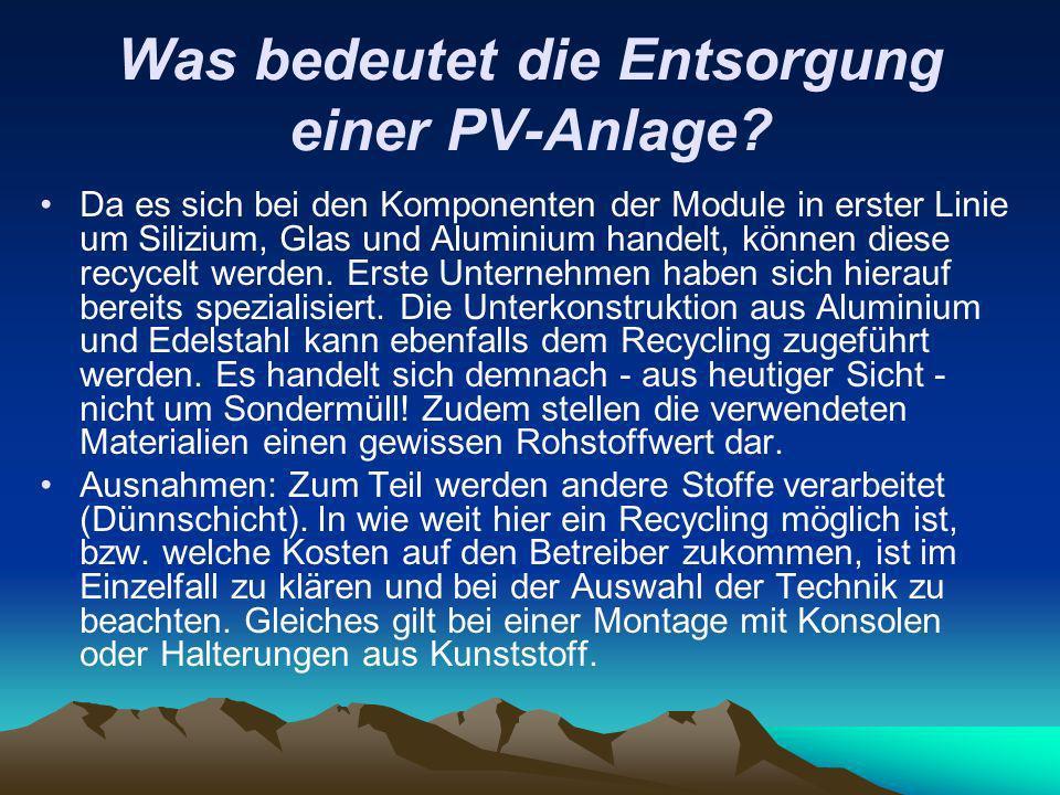 Was bedeutet die Entsorgung einer PV-Anlage