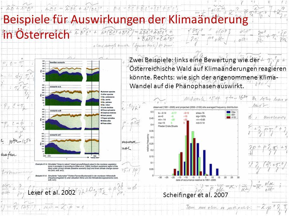 Beispiele für Auswirkungen der Klimaänderung in Österreich