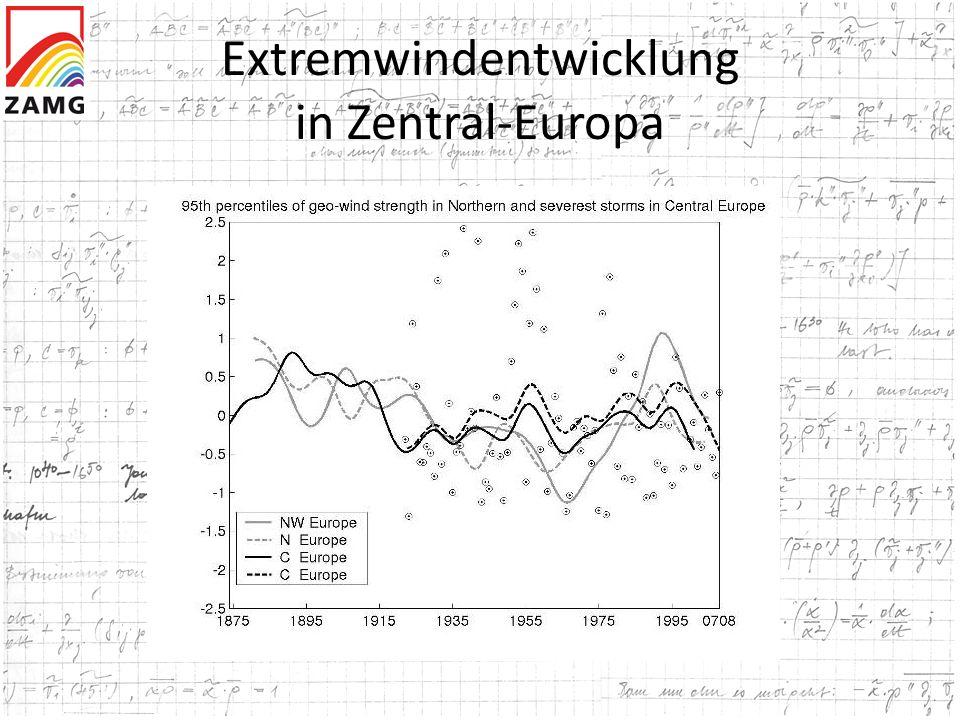 Extremwindentwicklung in Zentral-Europa