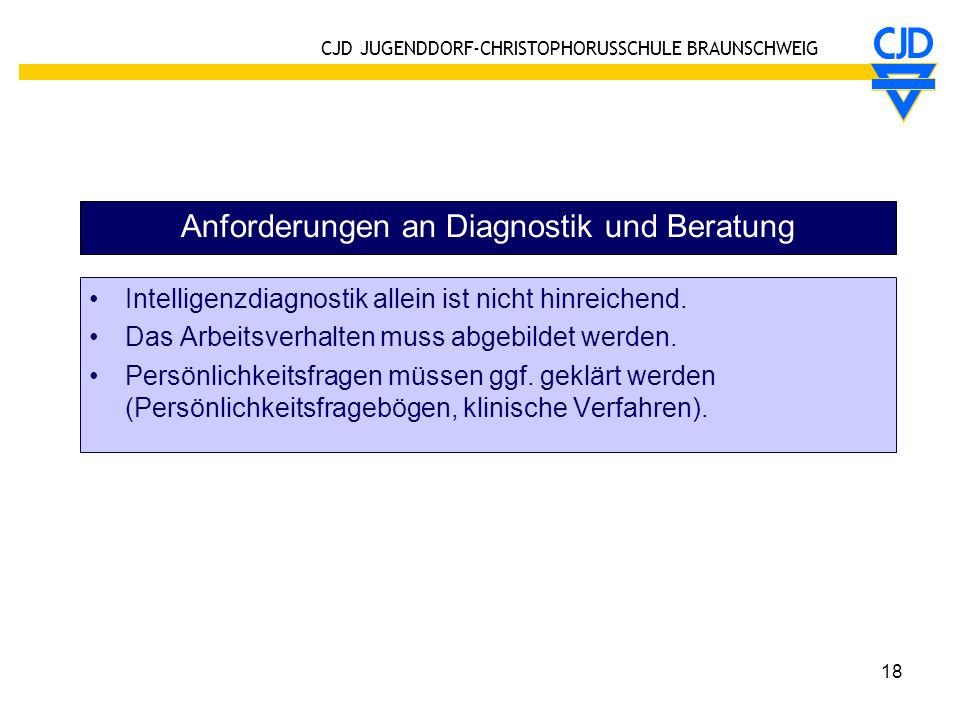 Anforderungen an Diagnostik und Beratung