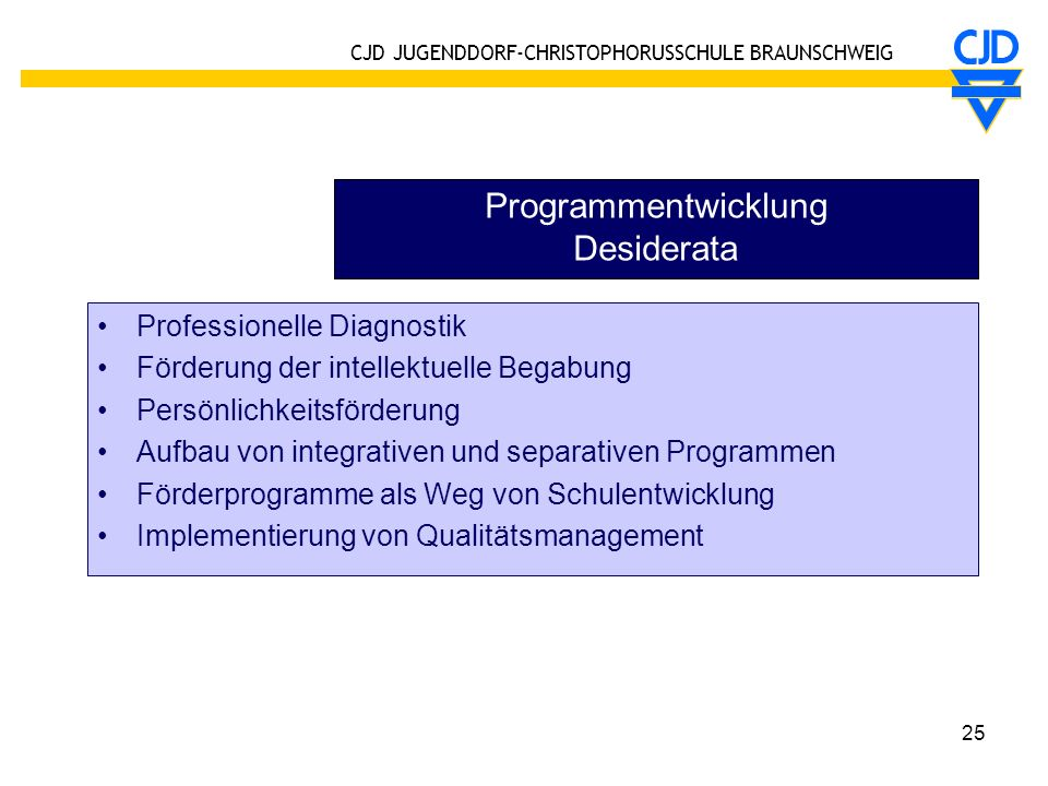 Programmentwicklung Desiderata