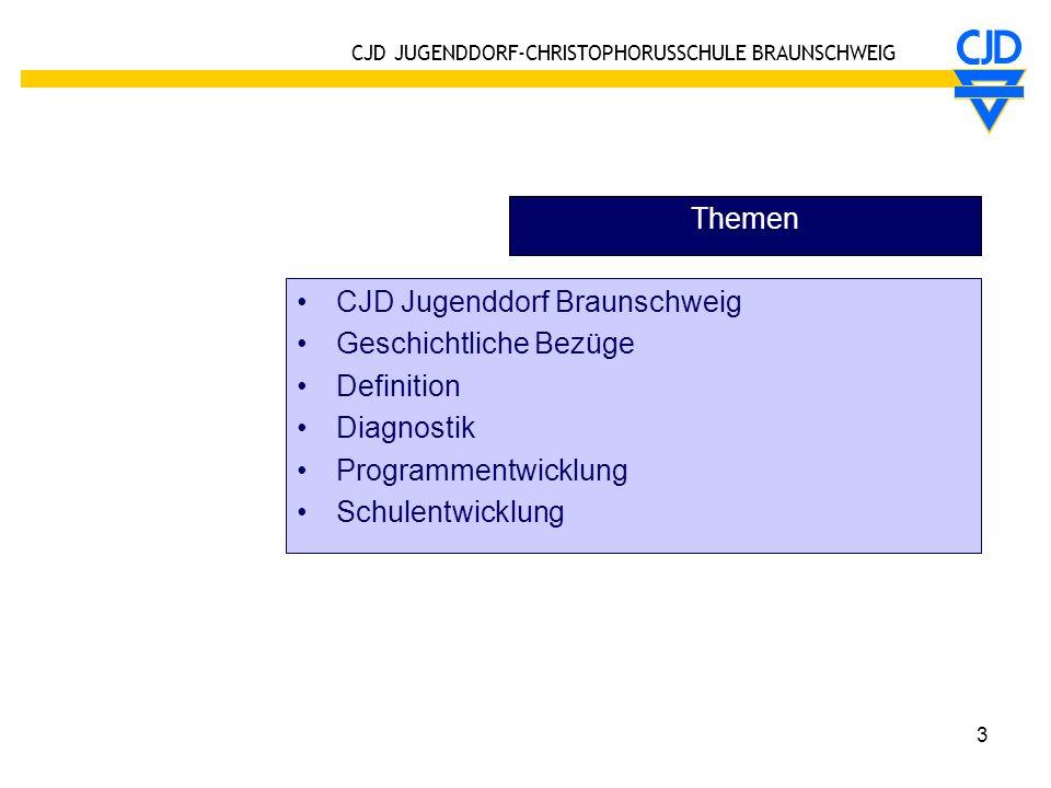 Themen CJD Jugenddorf Braunschweig. Geschichtliche Bezüge. Definition. Diagnostik. Programmentwicklung.