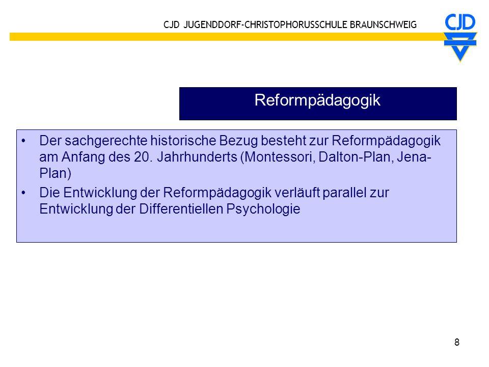 Reformpädagogik Der sachgerechte historische Bezug besteht zur Reformpädagogik am Anfang des 20. Jahrhunderts (Montessori, Dalton-Plan, Jena-Plan)