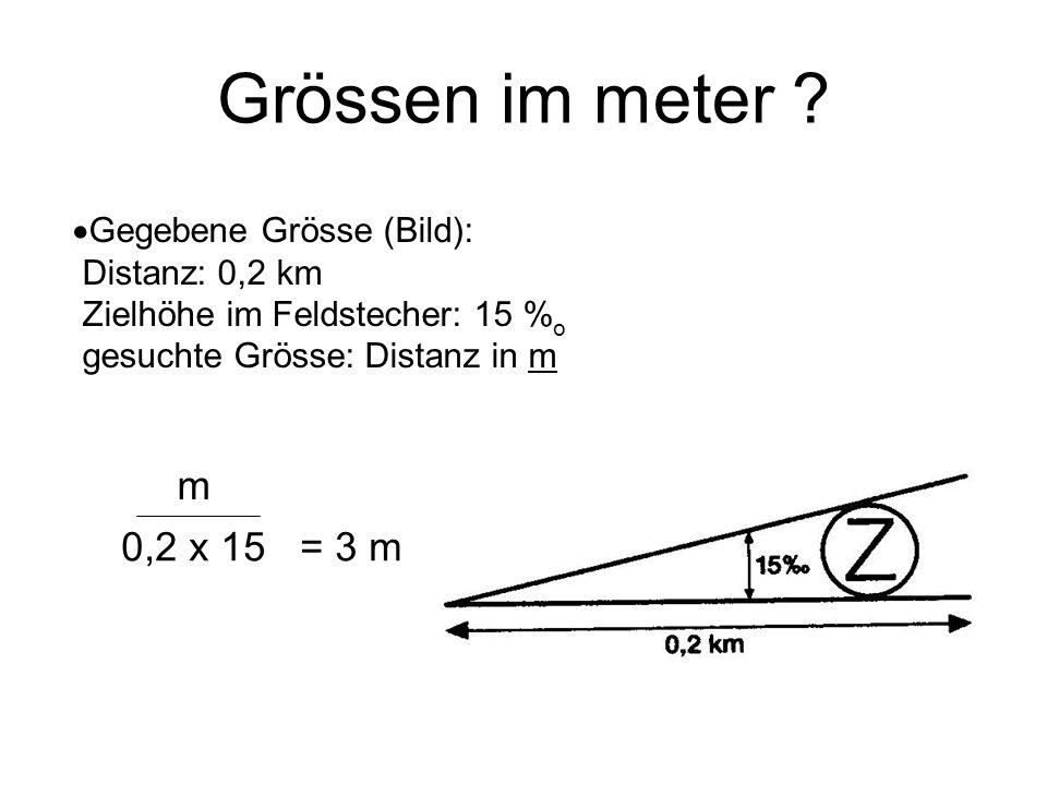 Grössen im meter Gegebene Grösse (Bild): Distanz: 0,2 km