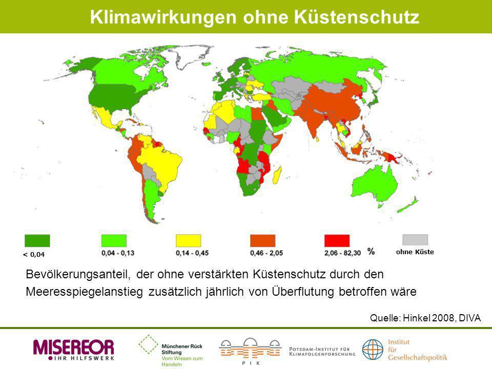 Klimawirkungen ohne Küstenschutz