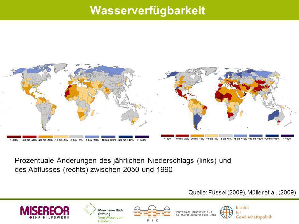 Wasserverfügbarkeit Prozentuale Änderungen des jährlichen Niederschlags (links) und des Abflusses (rechts) zwischen 2050 und 1990.
