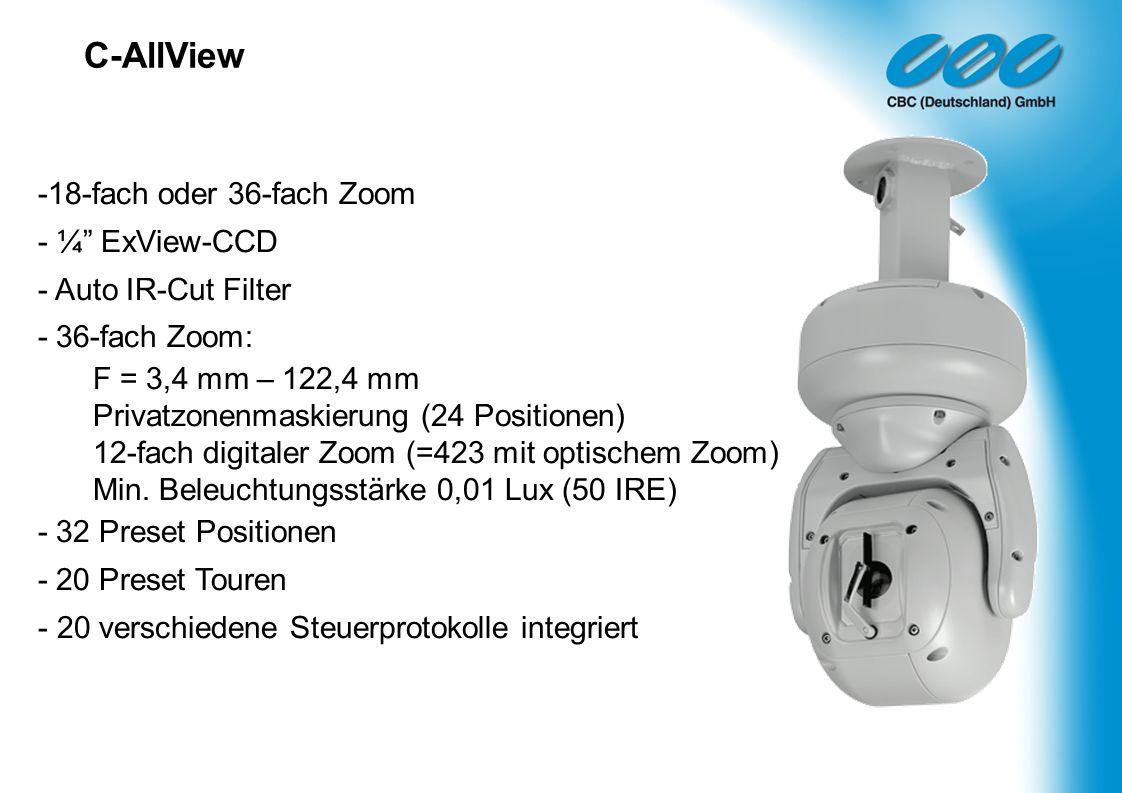 C-AllView 18-fach oder 36-fach Zoom - ¼ ExView-CCD