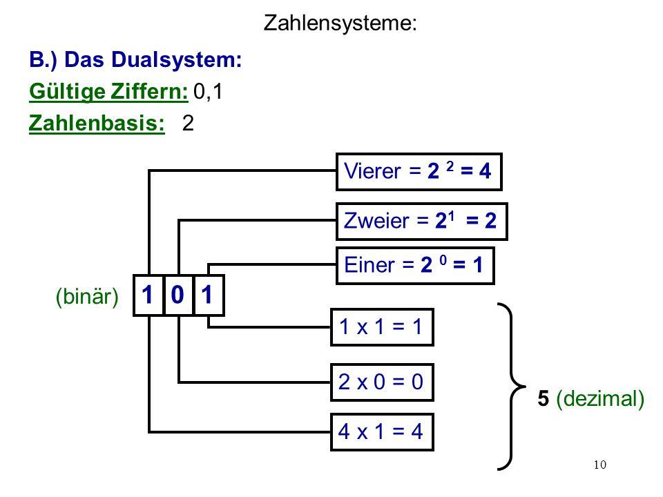 1 Zahlensysteme: B.) Das Dualsystem: Gültige Ziffern: 0,1