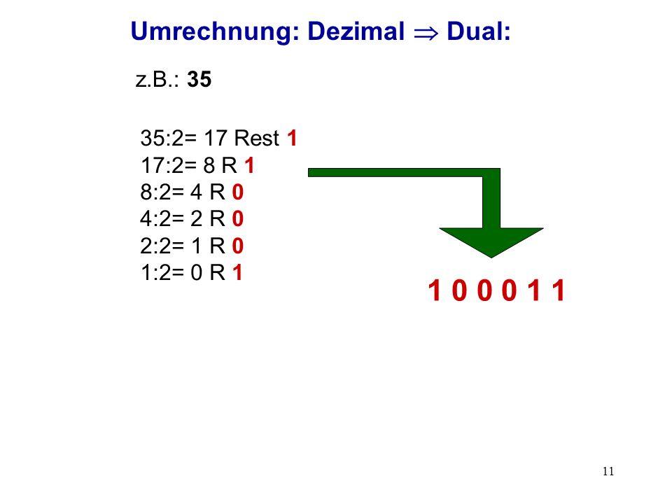 1 0 0 0 1 1 Umrechnung: Dezimal  Dual: z.B.: 35 35:2= 17 Rest 1