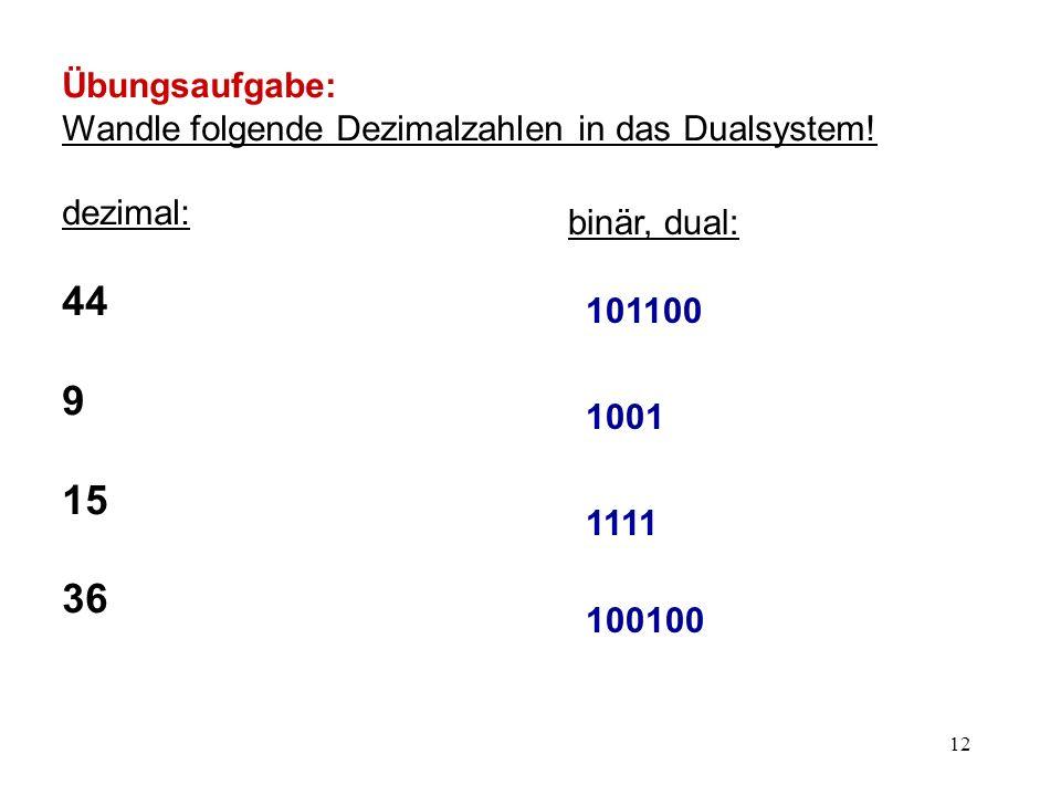 Übungsaufgabe: Wandle folgende Dezimalzahlen in das Dualsystem! dezimal: 44. 9. 15. 36. binär, dual: