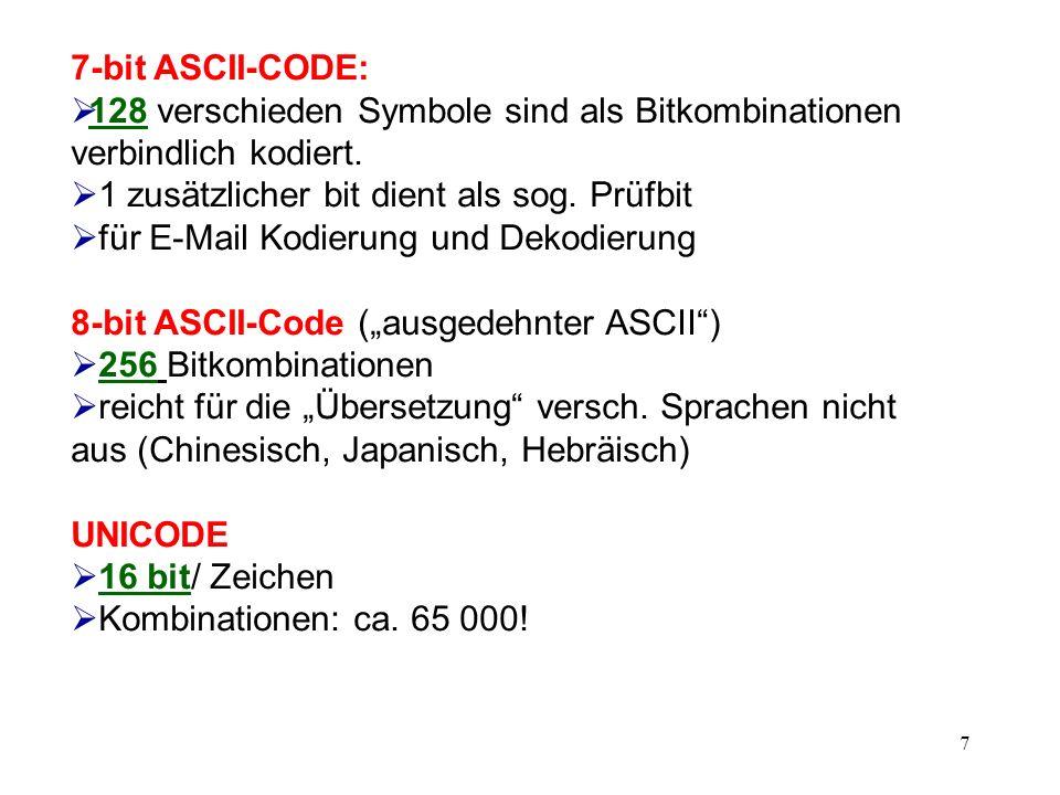 7-bit ASCII-CODE: 128 verschieden Symbole sind als Bitkombinationen verbindlich kodiert. 1 zusätzlicher bit dient als sog. Prüfbit.