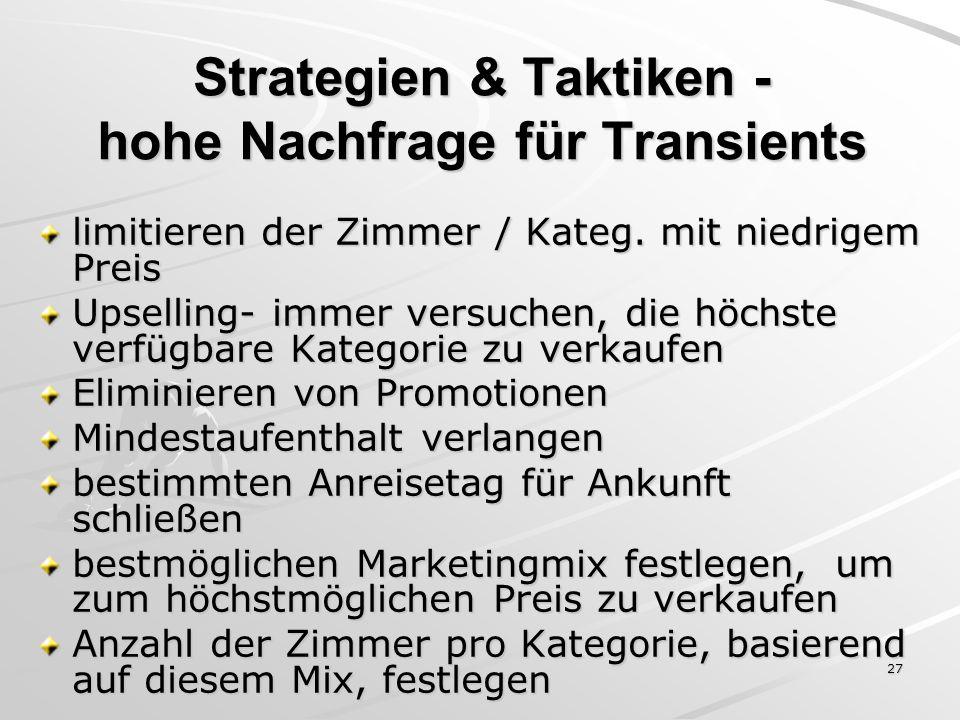 Strategien & Taktiken - hohe Nachfrage für Transients