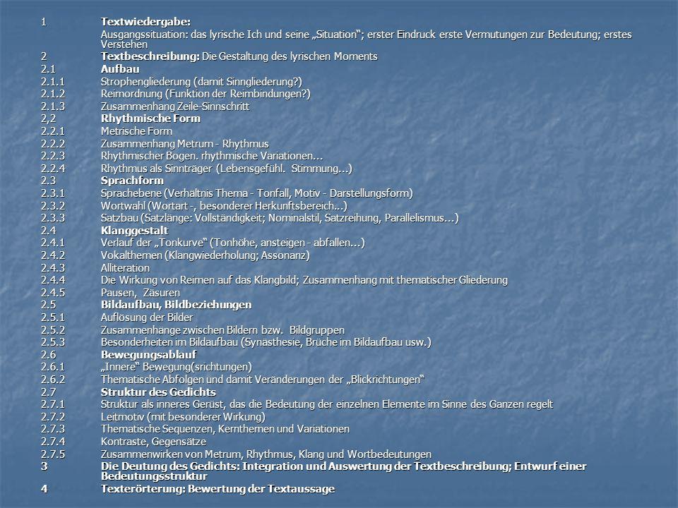 """1 Textwiedergabe: Ausgangssituation: das lyrische Ich und seine """"Situation ; erster Eindruck erste Vermutungen zur Bedeutung; erstes Verstehen."""