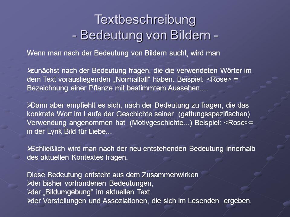 Textbeschreibung - Bedeutung von Bildern -