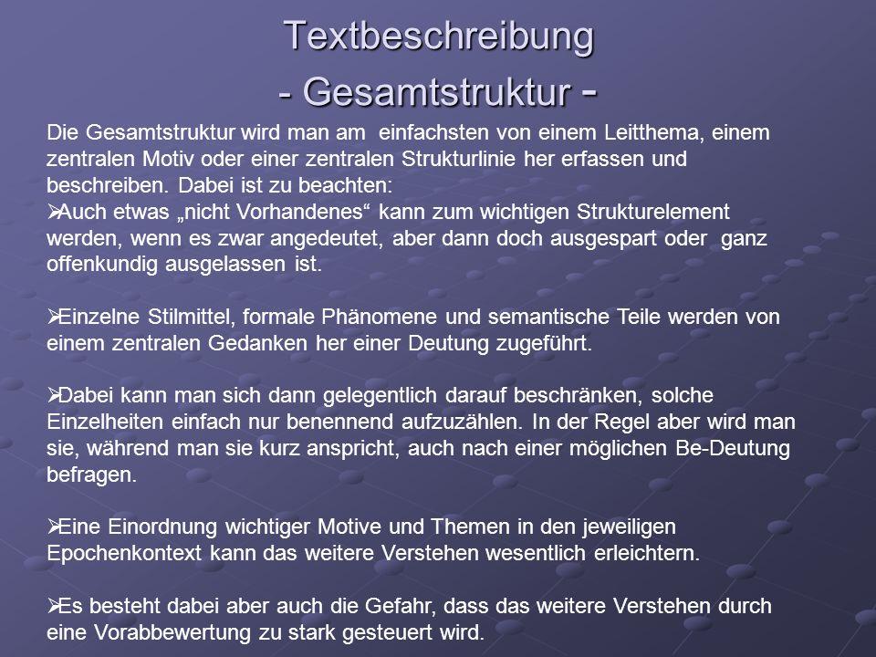 Textbeschreibung - Gesamtstruktur -